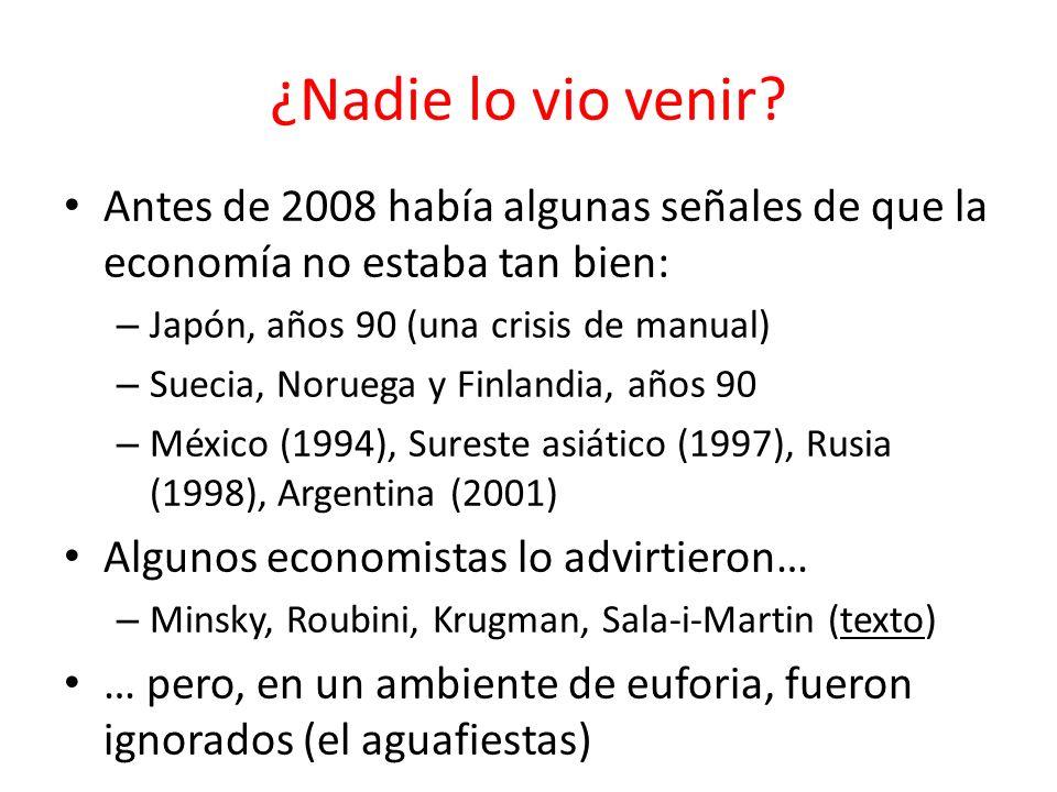 ¿Nadie lo vio venir? Antes de 2008 había algunas señales de que la economía no estaba tan bien: – Japón, años 90 (una crisis de manual) – Suecia, Noru