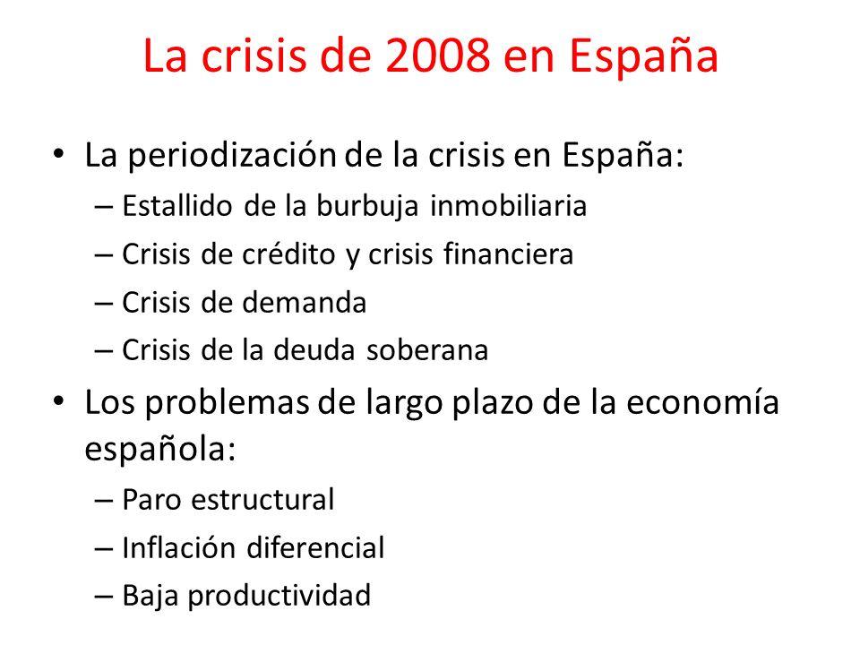 La crisis de 2008 en España La periodización de la crisis en España: – Estallido de la burbuja inmobiliaria – Crisis de crédito y crisis financiera –