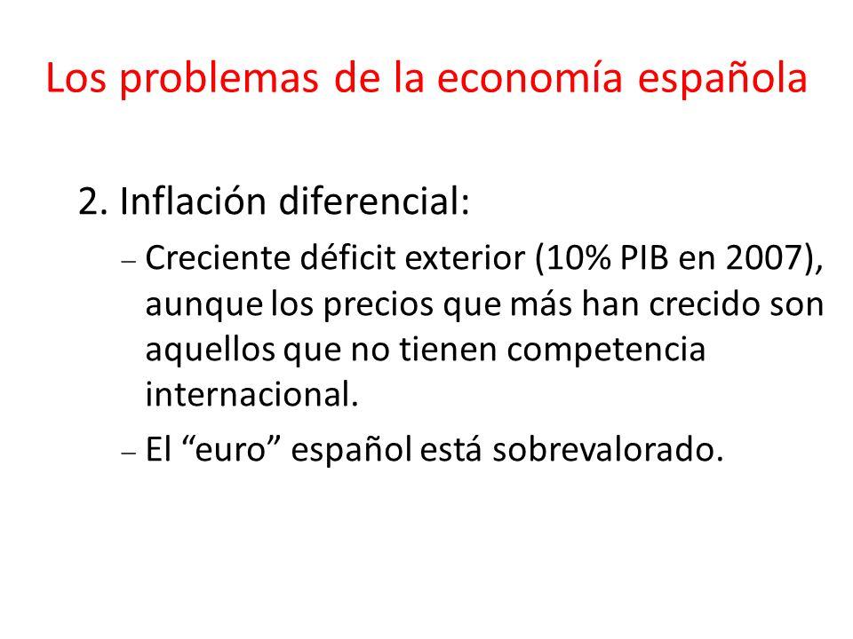 Los problemas de la economía española 2. Inflación diferencial: Creciente déficit exterior (10% PIB en 2007), aunque los precios que más han crecido s