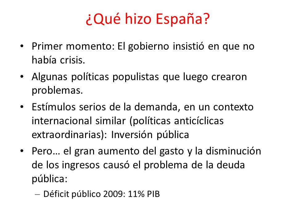 ¿Qué hizo España? Primer momento: El gobierno insistió en que no había crisis. Algunas políticas populistas que luego crearon problemas. Estímulos ser