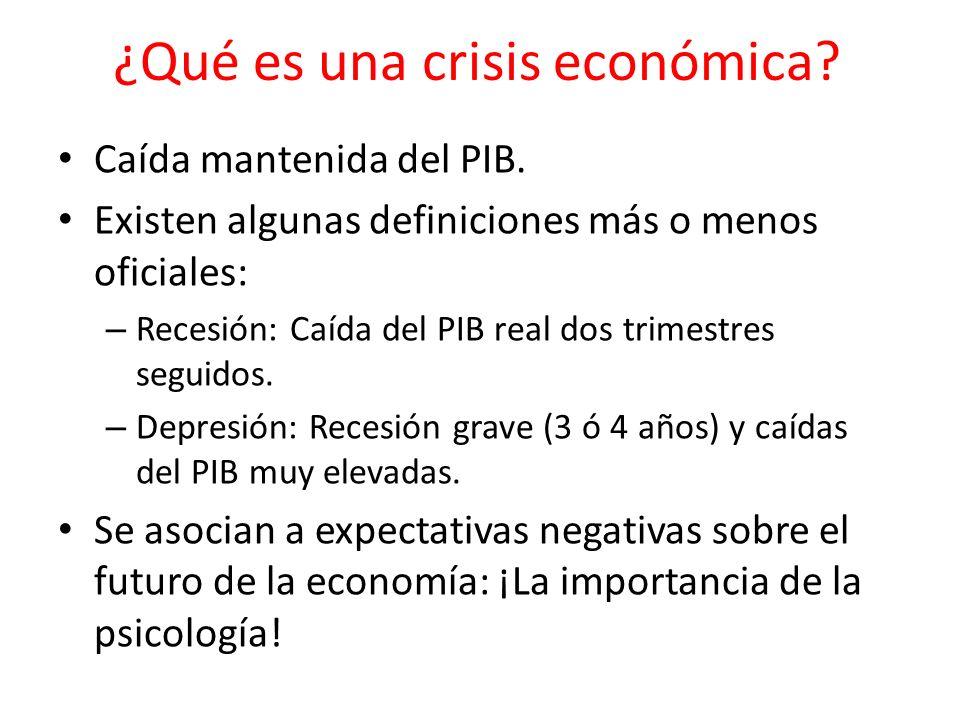¿Qué es una crisis económica? Caída mantenida del PIB. Existen algunas definiciones más o menos oficiales: – Recesión: Caída del PIB real dos trimestr