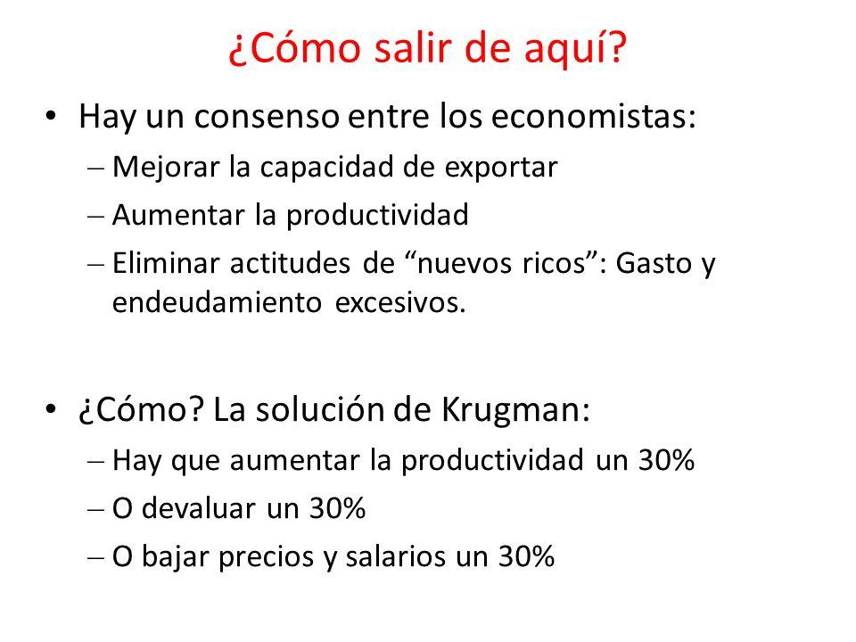 ¿Cómo salir de aquí? Hay un consenso entre los economistas: – Mejorar la capacidad de exportar – Aumentar la productividad – Eliminar actitudes de nue