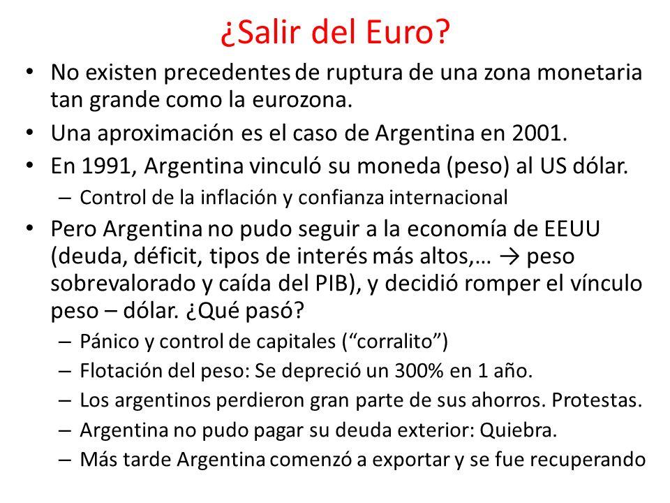 ¿Salir del Euro? No existen precedentes de ruptura de una zona monetaria tan grande como la eurozona. Una aproximación es el caso de Argentina en 2001