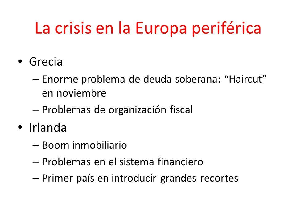 La crisis en la Europa periférica Grecia – Enorme problema de deuda soberana: Haircut en noviembre – Problemas de organización fiscal Irlanda – Boom i