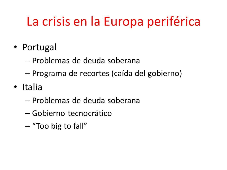 La crisis en la Europa periférica Portugal – Problemas de deuda soberana – Programa de recortes (caída del gobierno) Italia – Problemas de deuda sober