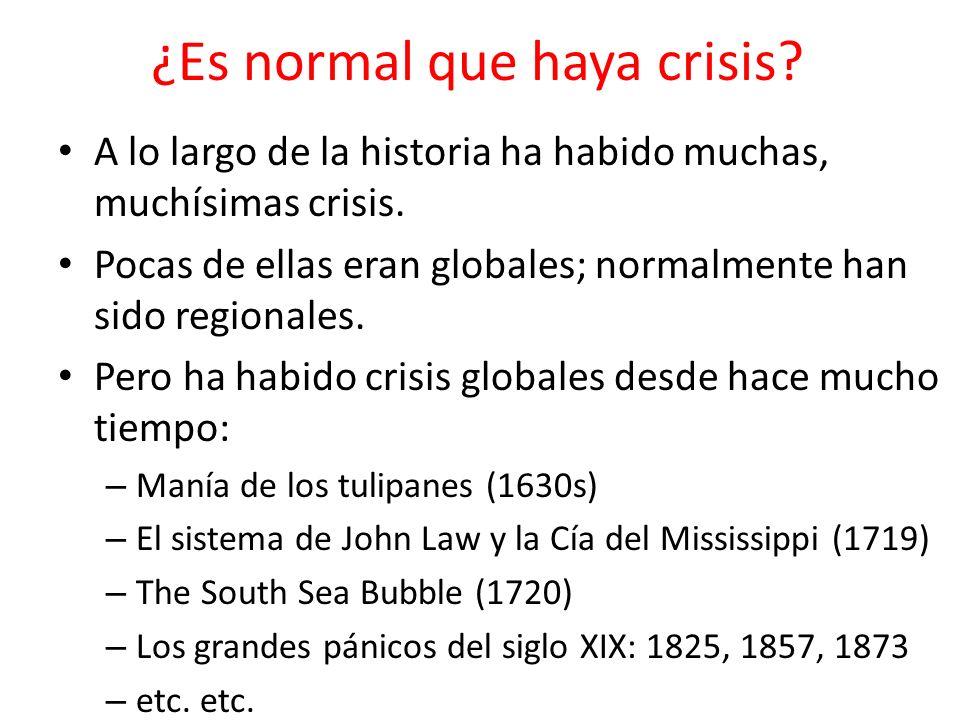 ¿Es normal que haya crisis? A lo largo de la historia ha habido muchas, muchísimas crisis. Pocas de ellas eran globales; normalmente han sido regional