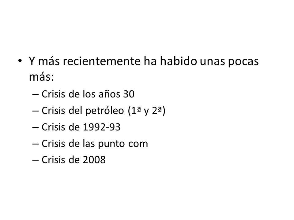 Y más recientemente ha habido unas pocas más: – Crisis de los años 30 – Crisis del petróleo (1ª y 2ª) – Crisis de 1992-93 – Crisis de las punto com –