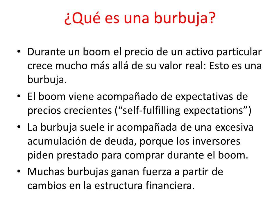 ¿Qué es una burbuja? Durante un boom el precio de un activo particular crece mucho más allá de su valor real: Esto es una burbuja. El boom viene acomp