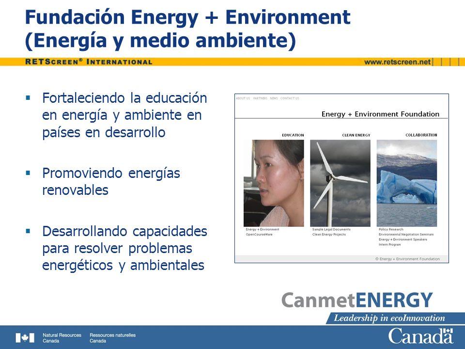 Fundación Energy + Environment (Energía y medio ambiente) Fortaleciendo la educación en energía y ambiente en países en desarrollo Promoviendo energía