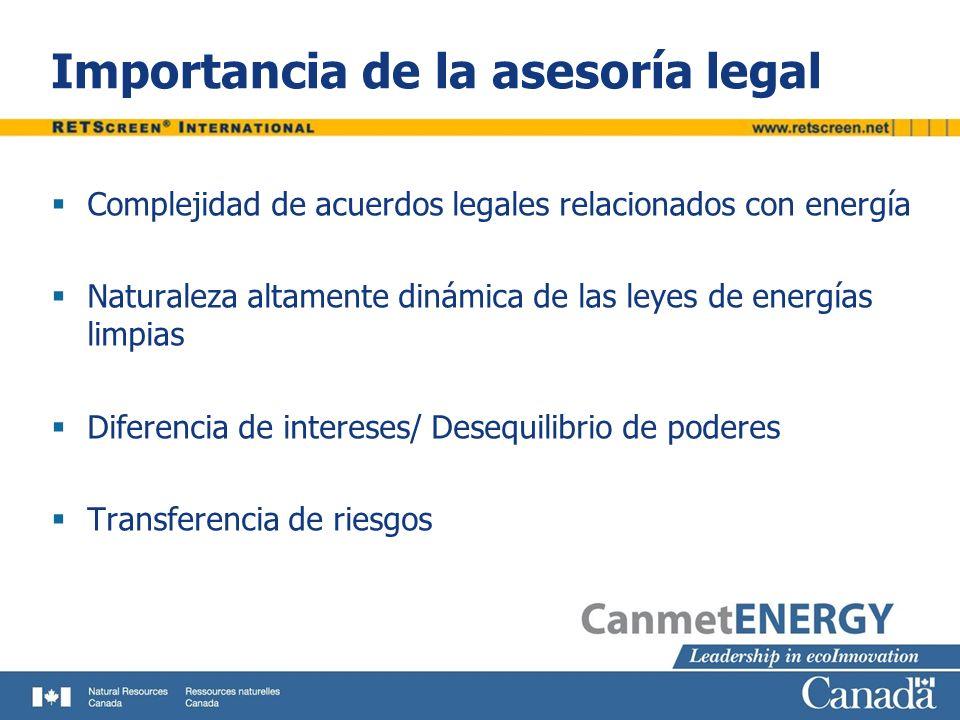 Importancia de la asesoría legal Complejidad de acuerdos legales relacionados con energía Naturaleza altamente dinámica de las leyes de energías limpi