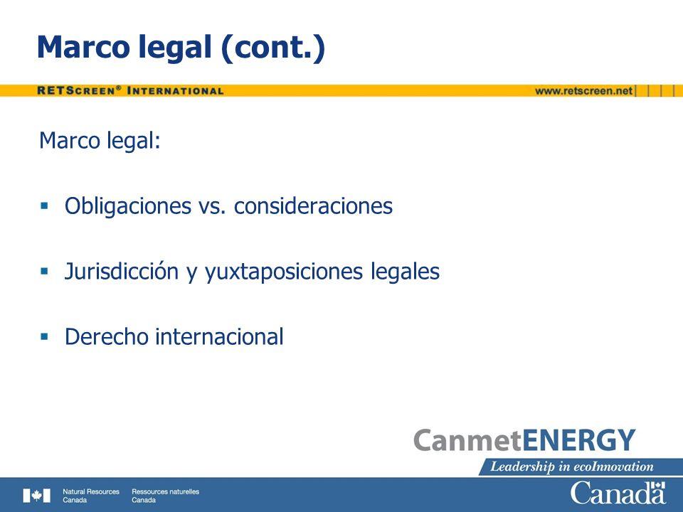 Marco legal (cont.) Marco legal: Obligaciones vs. consideraciones Jurisdicción y yuxtaposiciones legales Derecho internacional