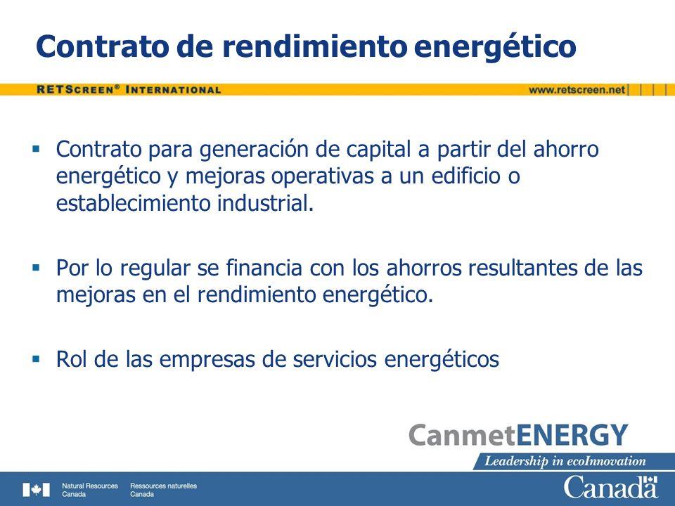 Contrato de rendimiento energético Contrato para generación de capital a partir del ahorro energético y mejoras operativas a un edificio o establecimi