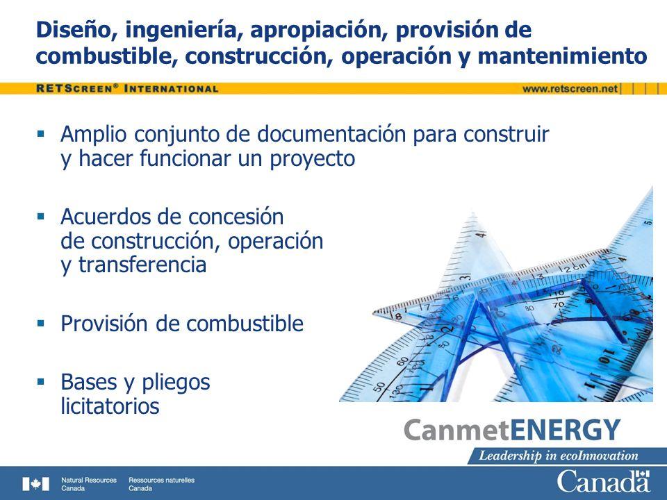 Diseño, ingeniería, apropiación, provisión de combustible, construcción, operación y mantenimiento Amplio conjunto de documentación para construir y h