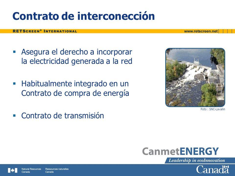 Contrato de interconección Asegura el derecho a incorporar la electricidad generada a la red Habitualmente integrado en un Contrato de compra de energ