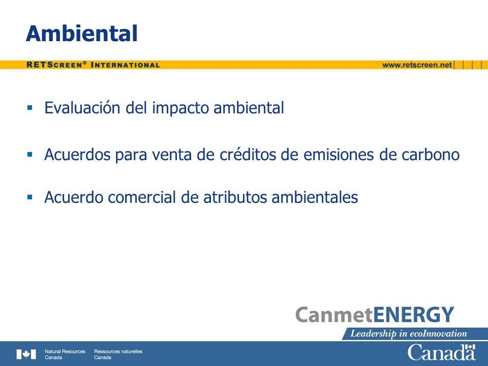 Ambiental Evaluación del impacto ambiental Acuerdos para venta de créditos de emisiones de carbono Acuerdo comercial de atributos ambientales