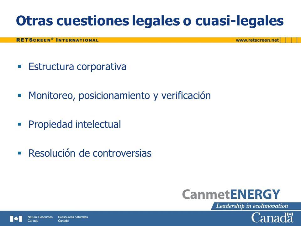 Otras cuestiones legales o cuasi-legales Estructura corporativa Monitoreo, posicionamiento y verificación Propiedad intelectual Resolución de controve