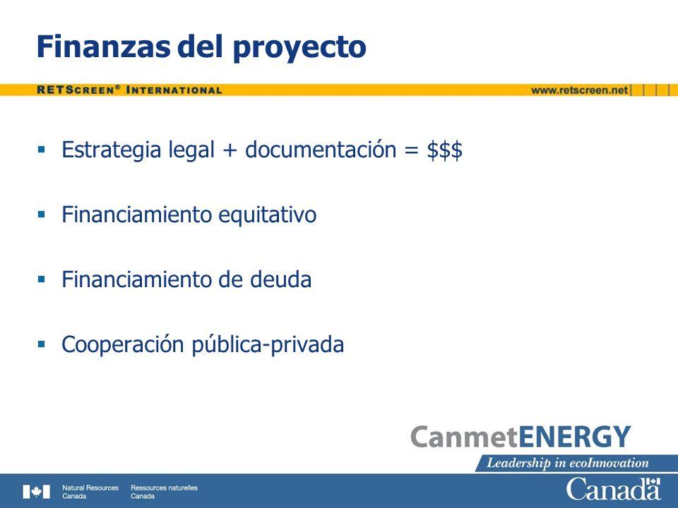 Finanzas del proyecto Estrategia legal + documentación = $$$ Financiamiento equitativo Financiamiento de deuda Cooperación pública-privada