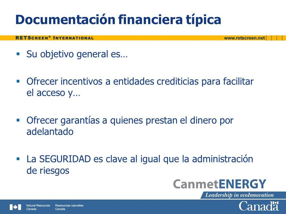 Documentación financiera típica Su objetivo general es… Ofrecer incentivos a entidades crediticias para facilitar el acceso y… Ofrecer garantías a qui