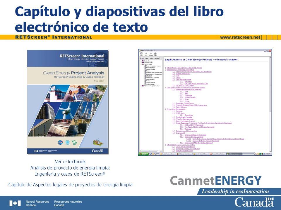 Capítulo y diapositivas del libro electrónico de texto Ver e-Textbook Análisis de proyecto de energía limpia: Ingeniería y casos de RETScreen ® Capítu