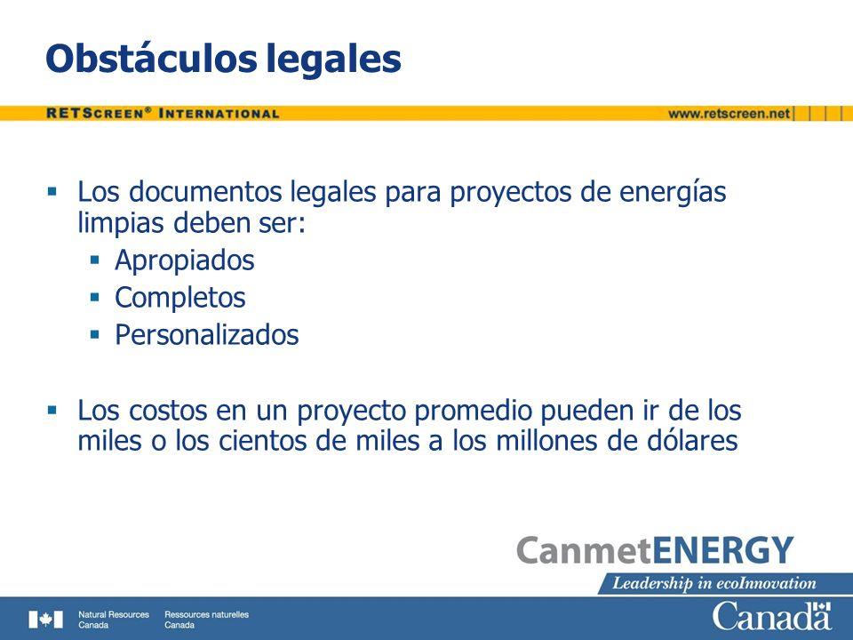 Obstáculos legales Los documentos legales para proyectos de energías limpias deben ser: Apropiados Completos Personalizados Los costos en un proyecto