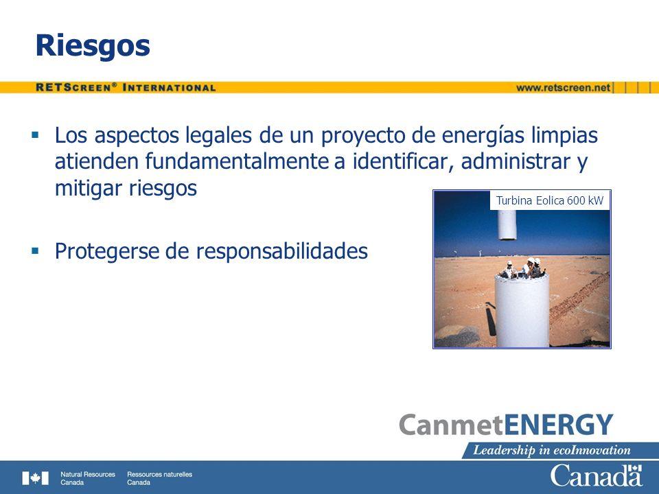 Riesgos Los aspectos legales de un proyecto de energías limpias atienden fundamentalmente a identificar, administrar y mitigar riesgos Protegerse de r