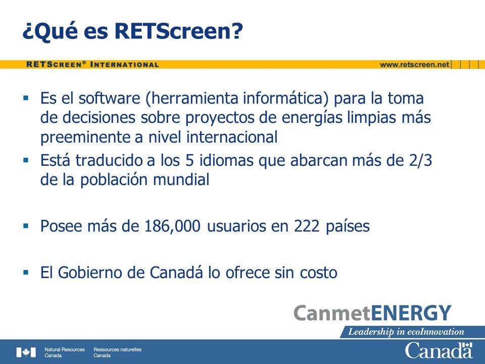 ¿Qué es RETScreen? Es el software (herramienta informática) para la toma de decisiones sobre proyectos de energías limpias más preeminente a nivel int
