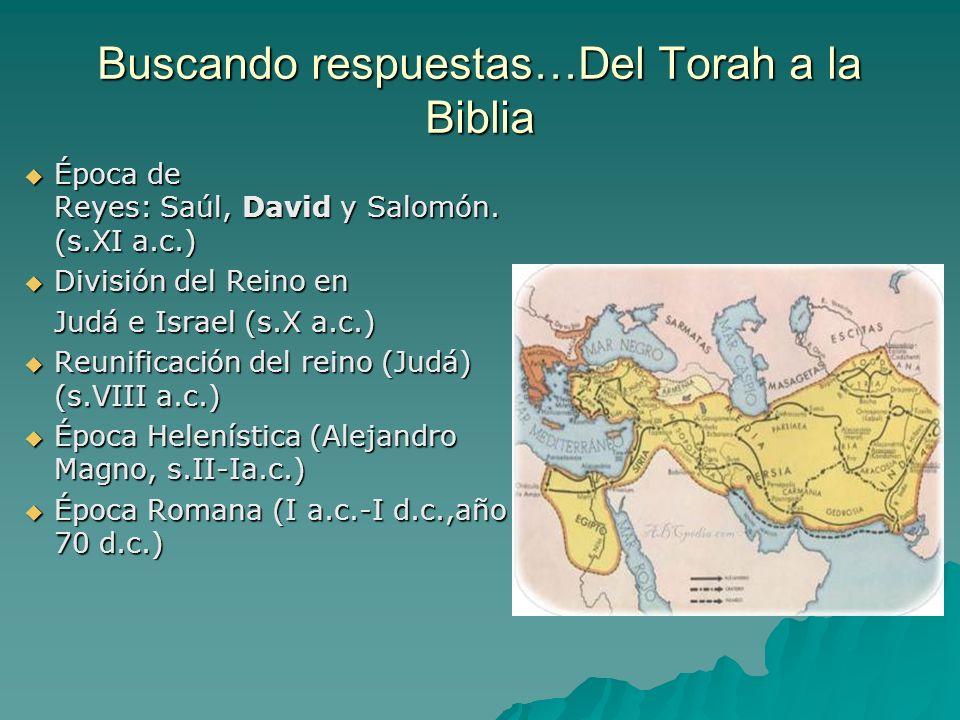 Buscando respuestas…Del Torah a la Biblia Época de Reyes: Saúl, David y Salomón. (s.XI a.c.) Época de Reyes: Saúl, David y Salomón. (s.XI a.c.) Divisi