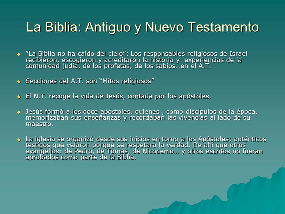 La Biblia: Antiguo y Nuevo Testamento La Biblia no ha caido del cielo: Los responsables religiosos de Israel recibieron, escogieron y acreditaron la h