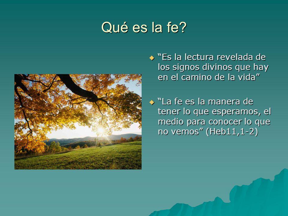 Qué es la fe? Es la lectura revelada de los signos divinos que hay en el camino de la vida Es la lectura revelada de los signos divinos que hay en el