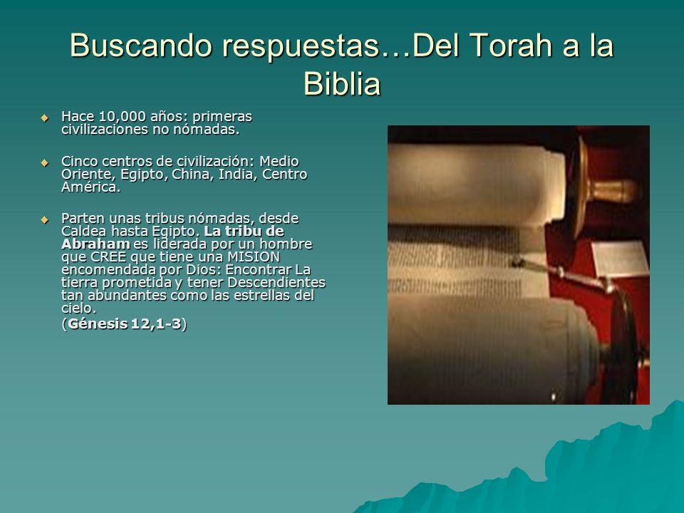 Buscando respuestas…Del Torah a la Biblia Hace 10,000 años: primeras civilizaciones no nómadas. Hace 10,000 años: primeras civilizaciones no nómadas.