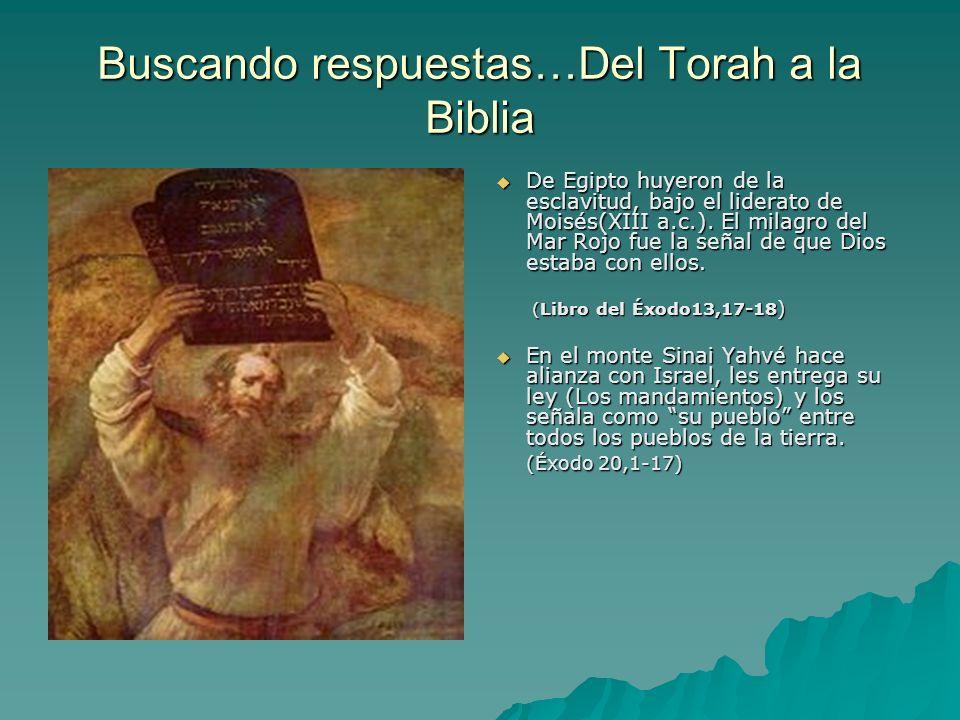 Buscando respuestas…Del Torah a la Biblia De Egipto huyeron de la esclavitud, bajo el liderato de Moisés(XIII a.c.). El milagro del Mar Rojo fue la se
