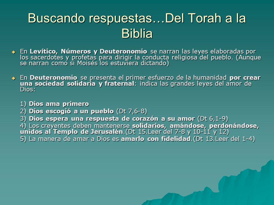 Buscando respuestas…Del Torah a la Biblia En Levítico, Números y Deuteronomio se narran las leyes elaboradas por los sacerdotes y profetas para dirigi