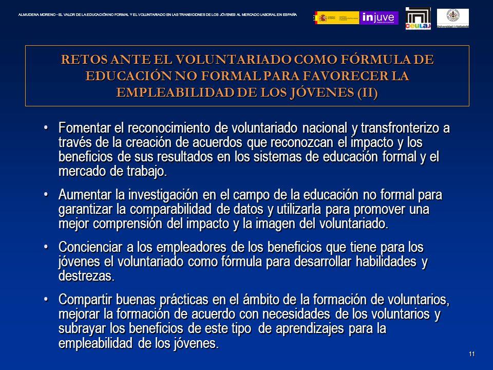 RETOS ANTE EL VOLUNTARIADO COMO FÓRMULA DE EDUCACIÓN NO FORMAL PARA FAVORECER LA EMPLEABILIDAD DE LOS JÓVENES (II) Fomentar el reconocimiento de volun