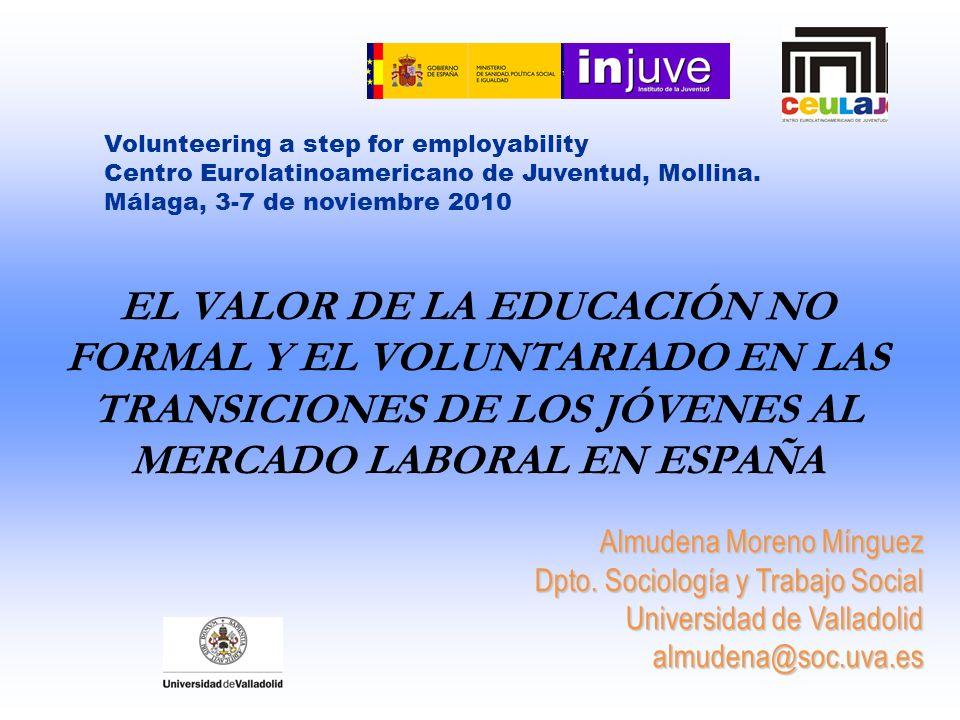 EL VALOR DE LA EDUCACIÓN NO FORMAL Y EL VOLUNTARIADO EN LAS TRANSICIONES DE LOS JÓVENES AL MERCADO LABORAL EN ESPAÑA Almudena Moreno Mínguez Dpto. Soc