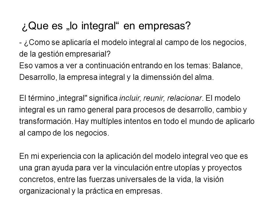 ¿Que es lo integral en empresas? - ¿Como se aplicaría el modelo integral al campo de los negocios, de la gestión empresarial? Eso vamos a ver a contin