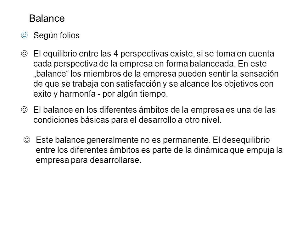 Según folios El equilibrio entre las 4 perspectivas existe, si se toma en cuenta cada perspectiva de la empresa en forma balanceada. En este balance l