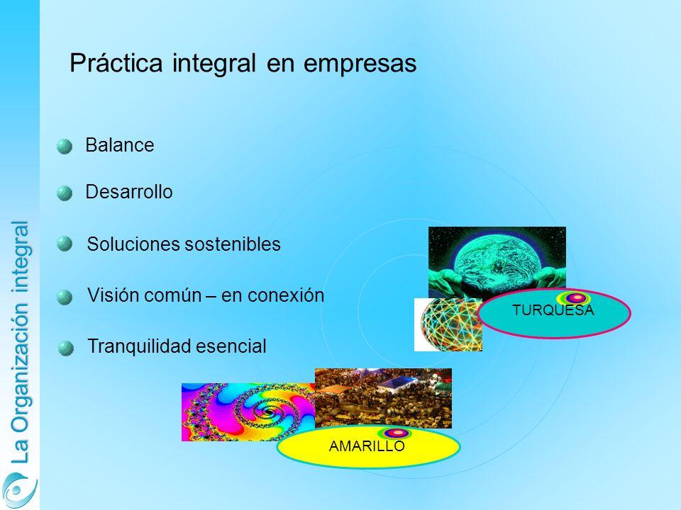 La Organización integral Balance Desarrollo Soluciones sostenibles Práctica integral en empresas Visión común – en conexión Tranquilidad esencial AMARILLO TURQUESA