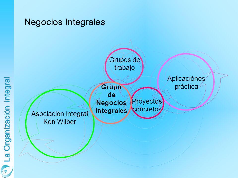 La Organización integral Negocios Integrales Grupo de Negocios Integrales Proyectos concretos Aplicaciónes práctica Asociación Integral Ken Wilber Grupos de trabajo