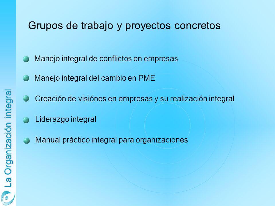 La Organización integral Manejo integral de conflictos en empresas Manejo integral del cambio en PME Grupos de trabajo y proyectos concretos Liderazgo integral Manual práctico integral para organizaciones Creación de visiónes en empresas y su realización integral