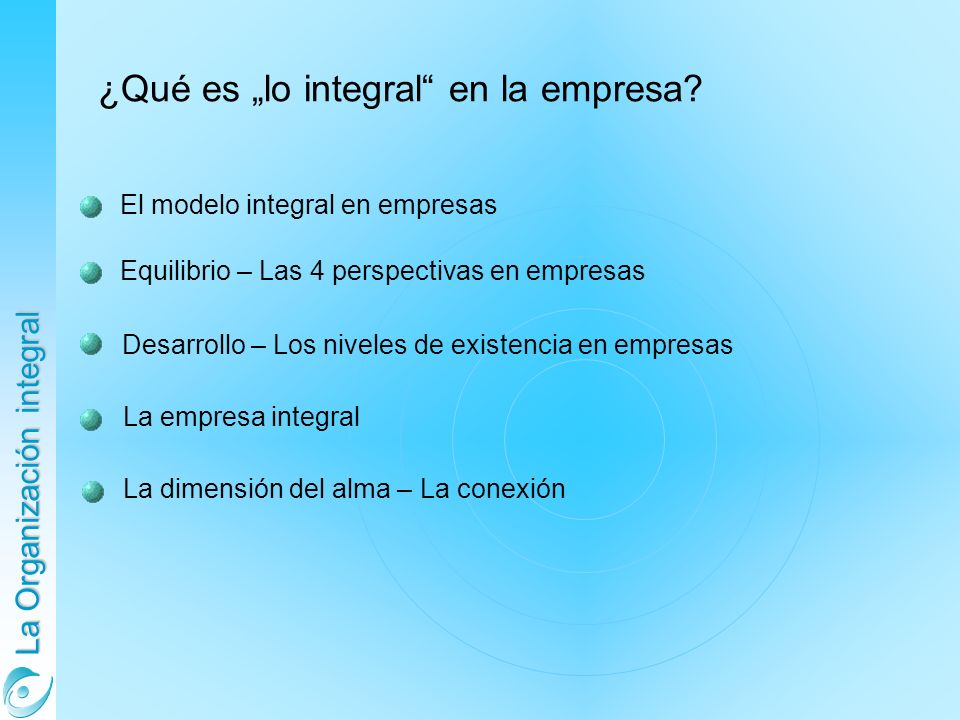 La Organización integral El modelo integral en empresas Equilibrio – Las 4 perspectivas en empresas Desarrollo – Los niveles de existencia en empresas ¿Qué es lo integral en la empresa.