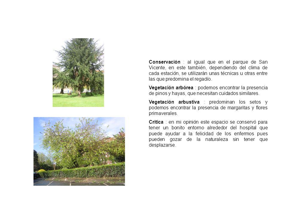 Conservación : al igual que en el parque de San Vicente, en este también, dependiendo del clima de cada estación, se utilizarán unas técnicas u otras