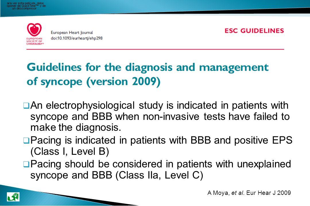 Objetivo Evaluar si el tipo de síncope puede predecir los resultados del EEF en pacientes con BFB.