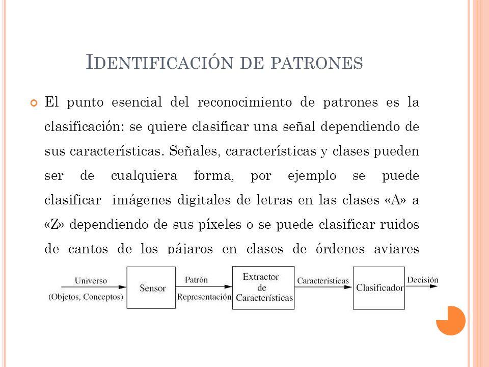 I DENTIFICACIÓN DE PATRONES El punto esencial del reconocimiento de patrones es la clasificación: se quiere clasificar una señal dependiendo de sus características.