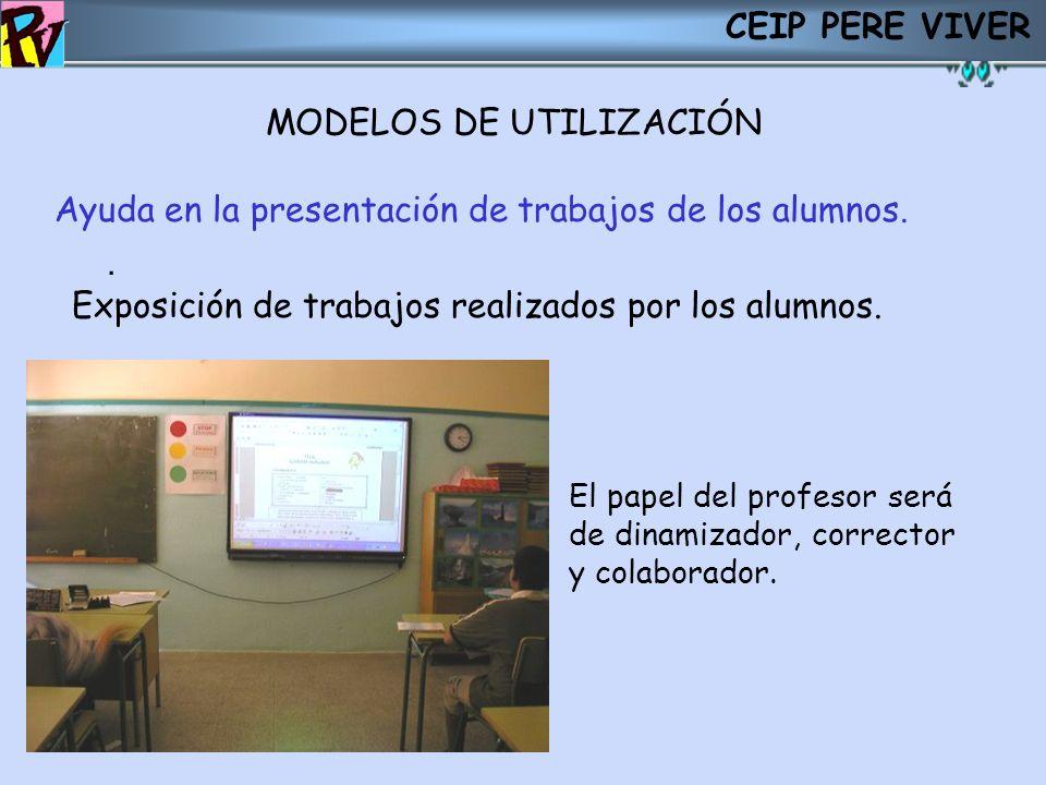 CEIP PERE VIVER MODELOS DE UTILIZACIÓN. Ayuda en la presentación de trabajos de los alumnos. Exposición de trabajos realizados por los alumnos. El pap