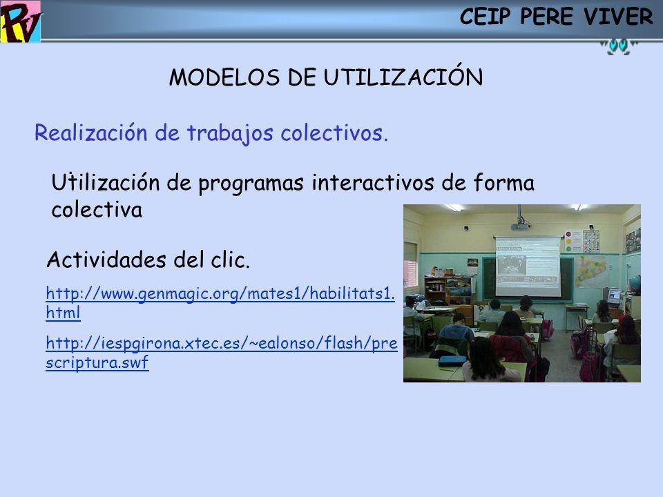 CEIP PERE VIVER MODELOS DE UTILIZACIÓN. Realización de trabajos colectivos. Utilización de programas interactivos de forma colectiva Actividades del c