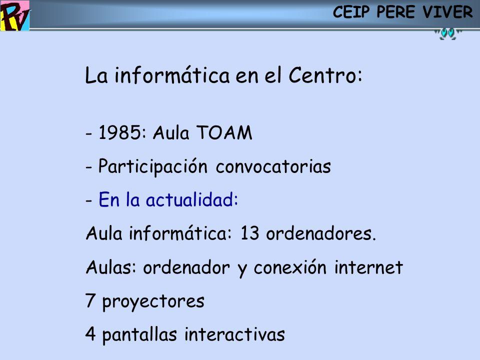 CEIP PERE VIVER La informática en el Centro: - 1985: Aula TOAM - Participación convocatorias - En la actualidad: Aula informática: 13 ordenadores. Aul