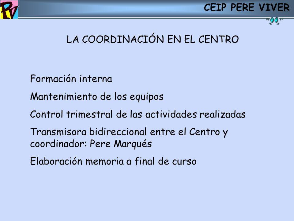 CEIP PERE VIVER LA COORDINACIÓN EN EL CENTRO. Formación interna Mantenimiento de los equipos Control trimestral de las actividades realizadas Transmis