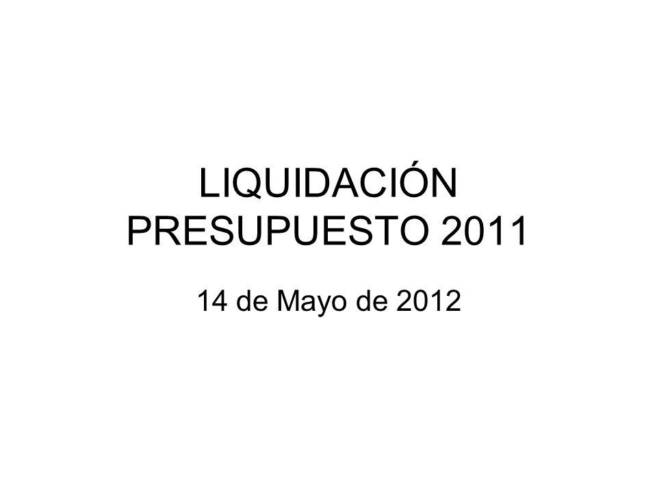 LIQUIDACIÓN PRESUPUESTO 2011 14 de Mayo de 2012