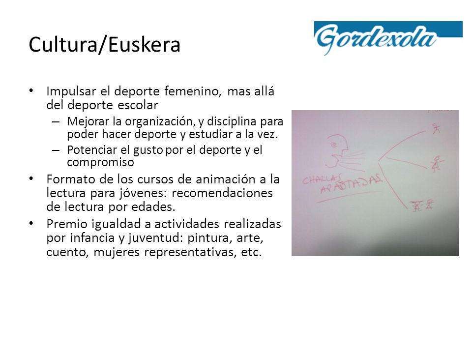 Cultura/Euskera Impulsar el deporte femenino, mas allá del deporte escolar – Mejorar la organización, y disciplina para poder hacer deporte y estudiar