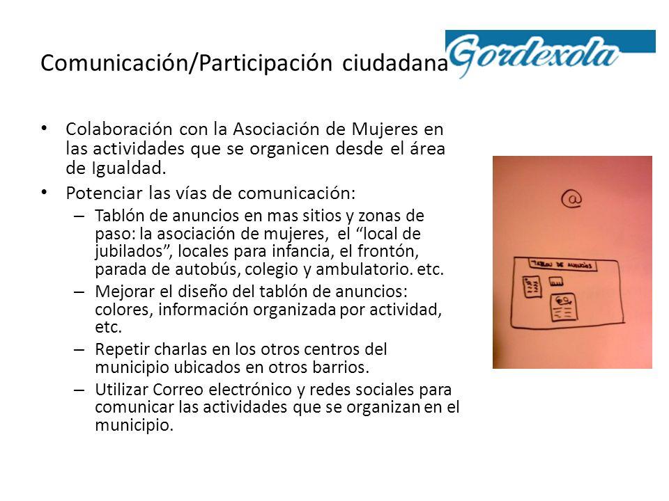 Comunicación/Participación ciudadana Colaboración con la Asociación de Mujeres en las actividades que se organicen desde el área de Igualdad. Potencia